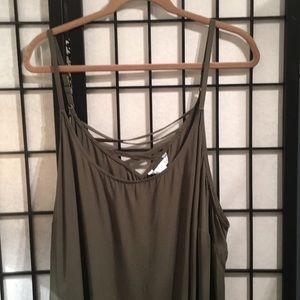 Army Green Plus Size Cross Back Tank Top/Cami